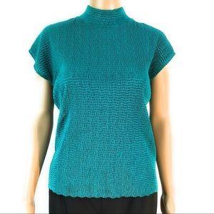 TanJay Shirt Small Green Short Sleeve Stretchy Moc